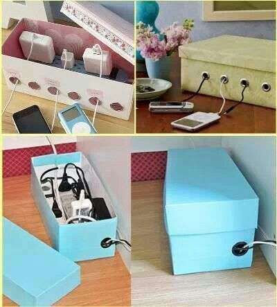 DIY-Shoe-Box-Charging-Cord-Organizer