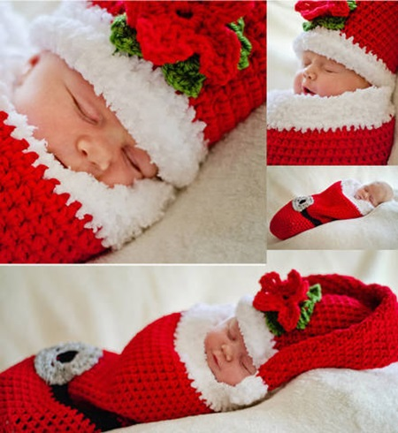 Little Santa Crochet Pattern Cocoon and Hat