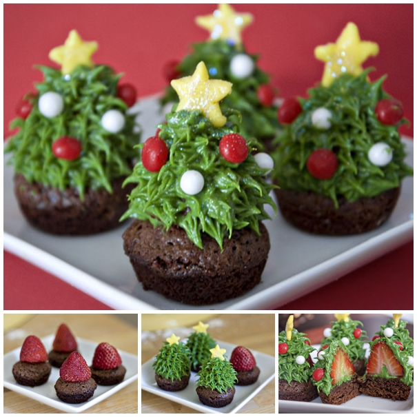 DIY Strawberry Christmas Tree Brownie Bites