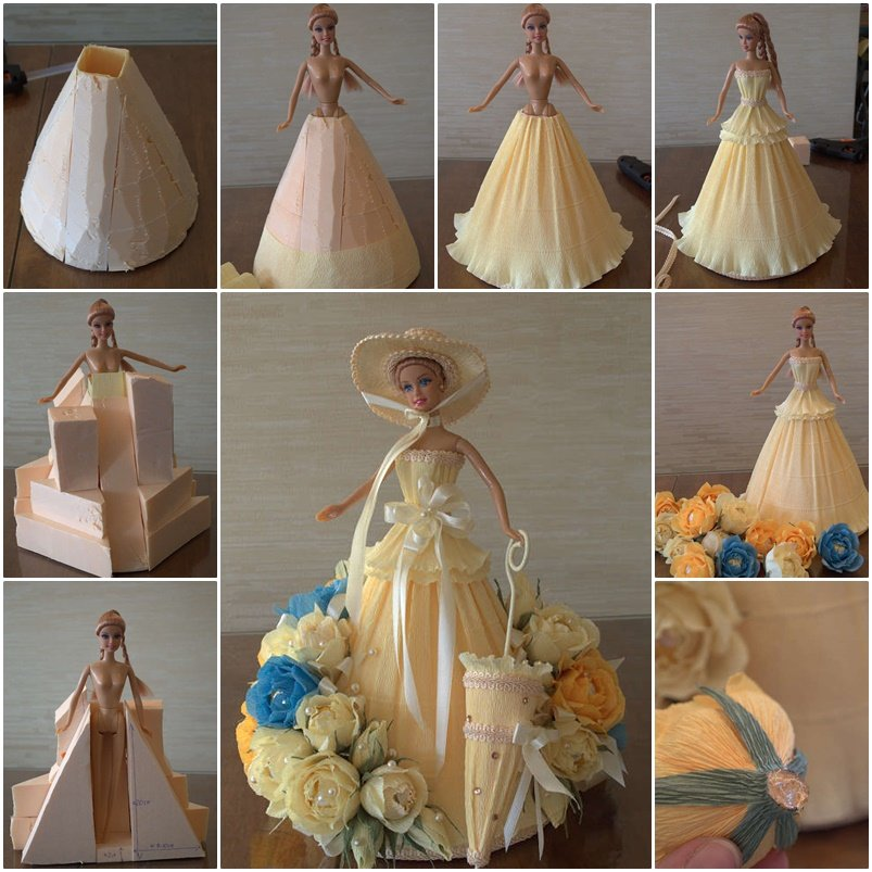 Barbie chocolate bouquet you can make for next birthday party for How to make a barbie wedding dress