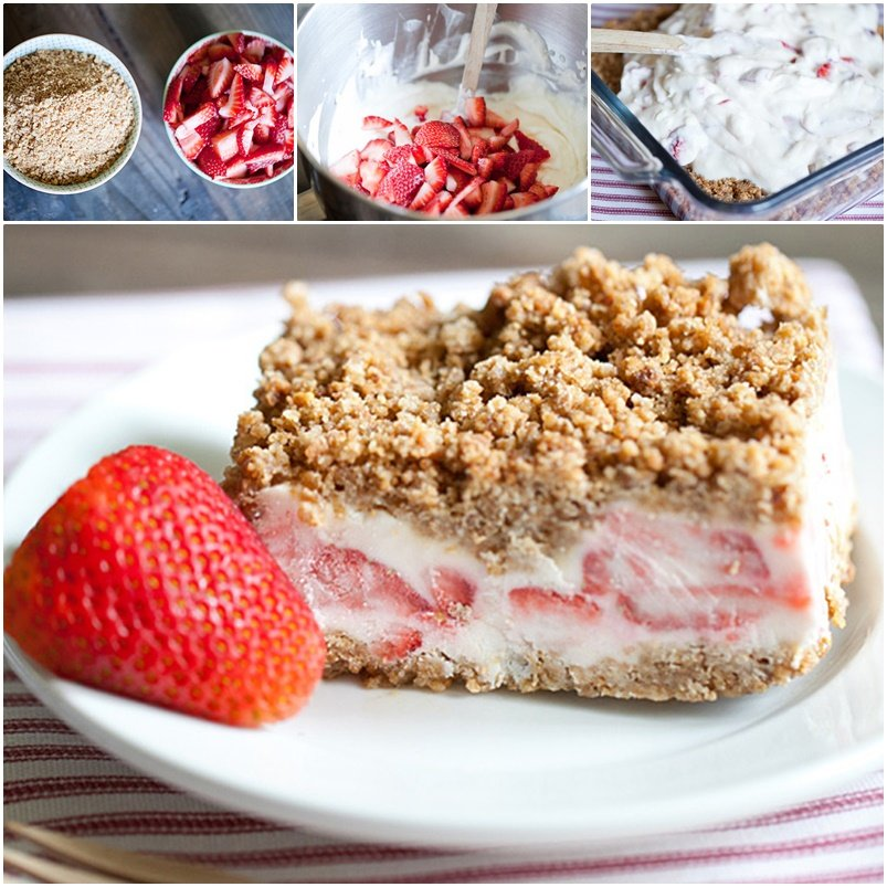DIY Frozen Strawberry Crunch Cake - No Bake