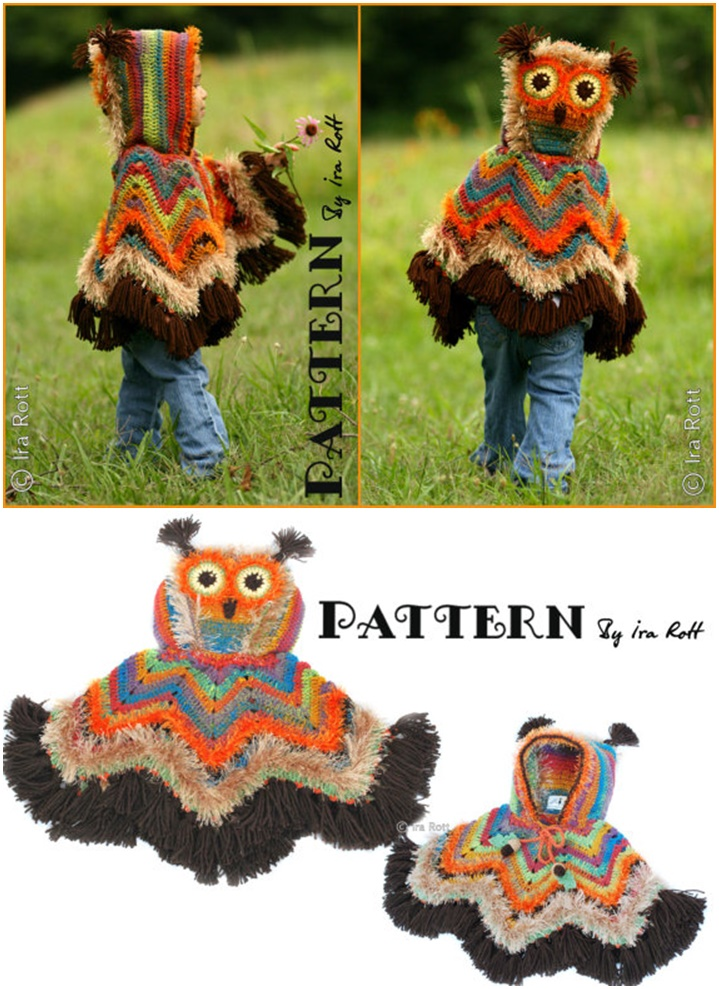 Crochet corn Owl Poncho Crochet with pattern