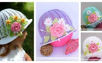 Crochet Pretty Panama Hat for Girls Free Pattern