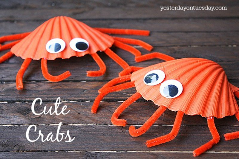Adorable Seashell Craft Ideas-seashell-Cute-Crabs