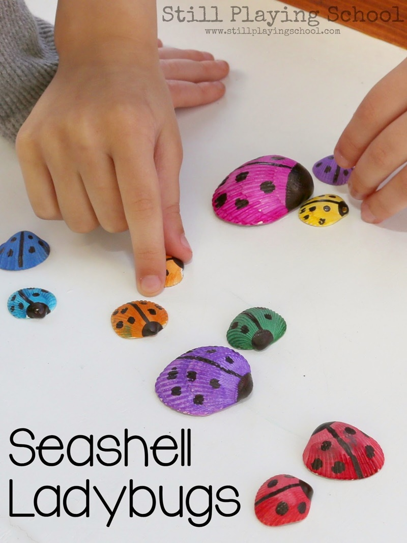 Adorable Seashell Craft Ideas-seashell-ladybugs