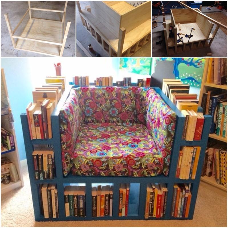 Chair With Built In Bookshelf: DIY A Bookshelf Chair For Bookworm