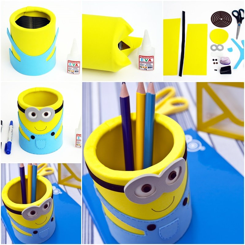 DIY Cute Minion Desk Organiser out of tin can