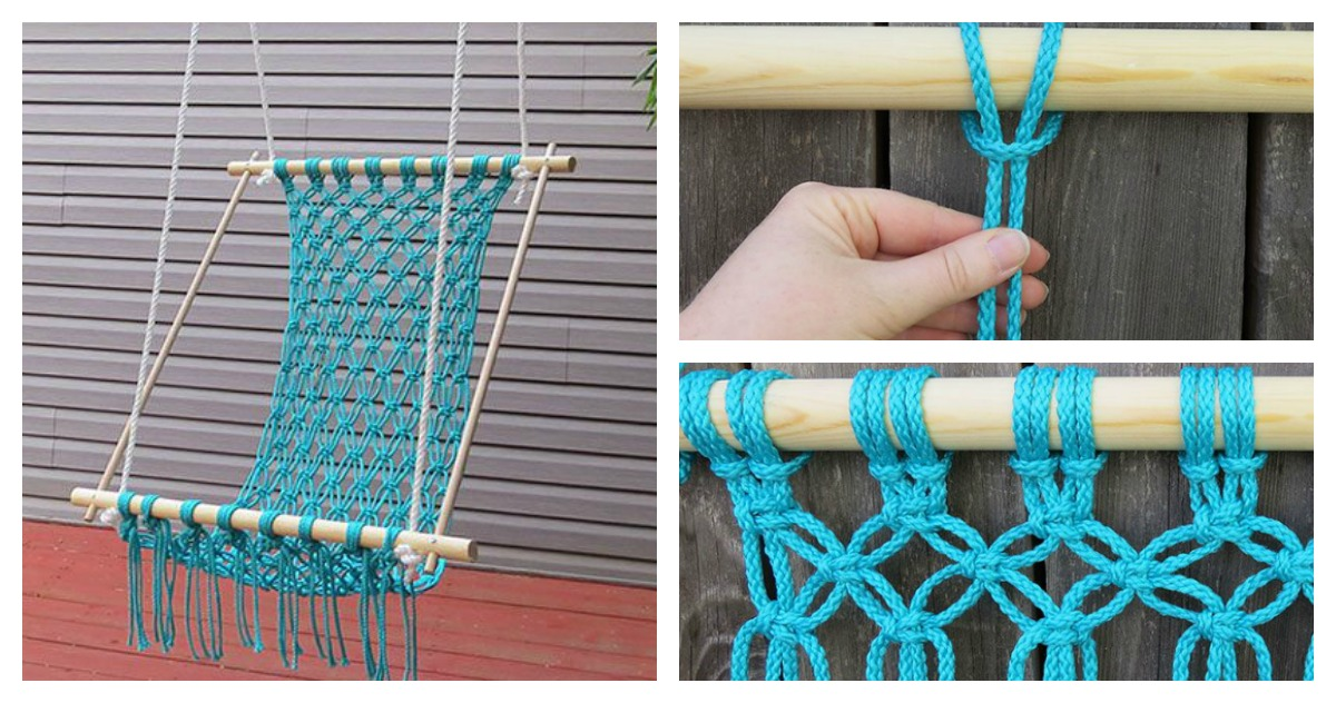 How to make a macrame lawn chair for Macrame hammock chair pattern
