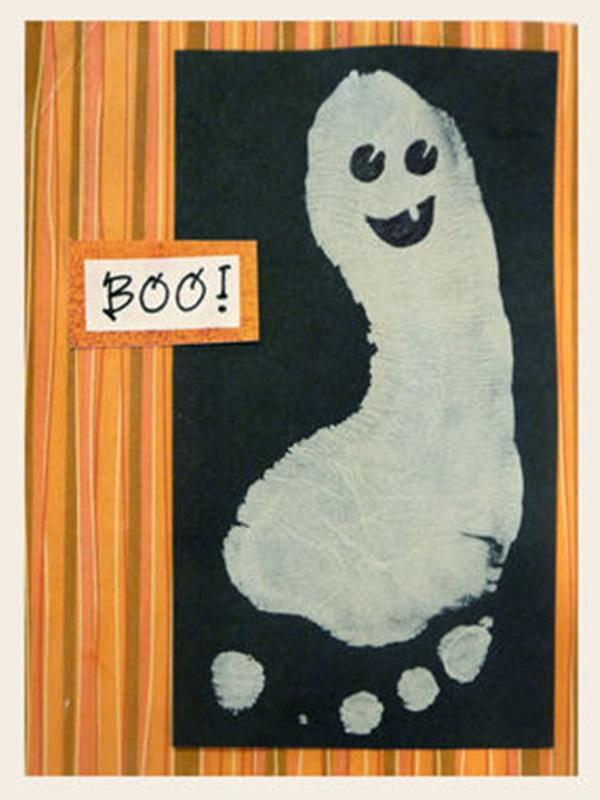 Halloween Ghost footprint art