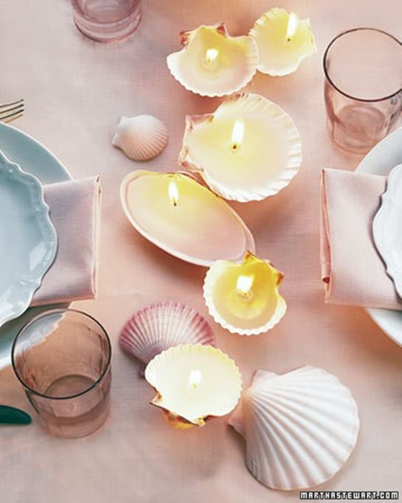 Adorable Seashell Craft Ideas candles