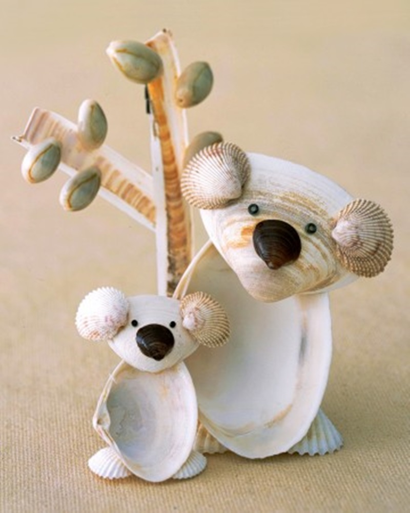 Adorable Seashell Craft Ideas koalas
