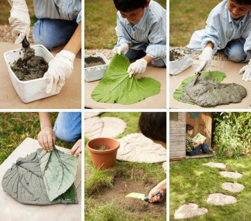 Cool DIY Garden Path Ideas leaf stone path