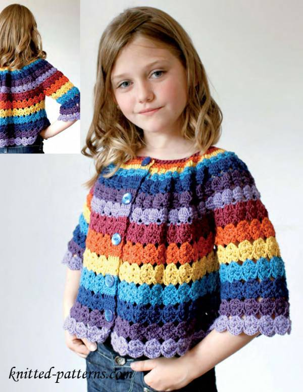 Crochet Child Cardigan Pattern : Crochet Pretty Circle Jacket with Pattern - Page 2 of 3