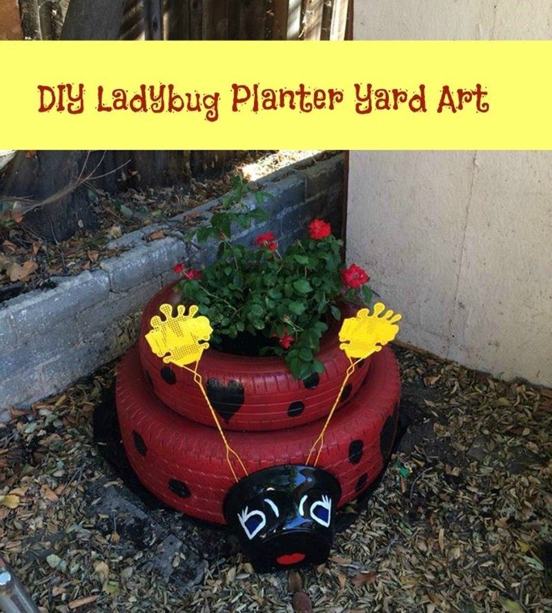 DIY Ladybug Planter Yard Art from old tires