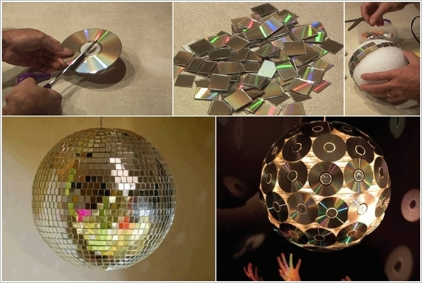 DIY Mosaic Disco Ball With Old CDs-coolcreativity