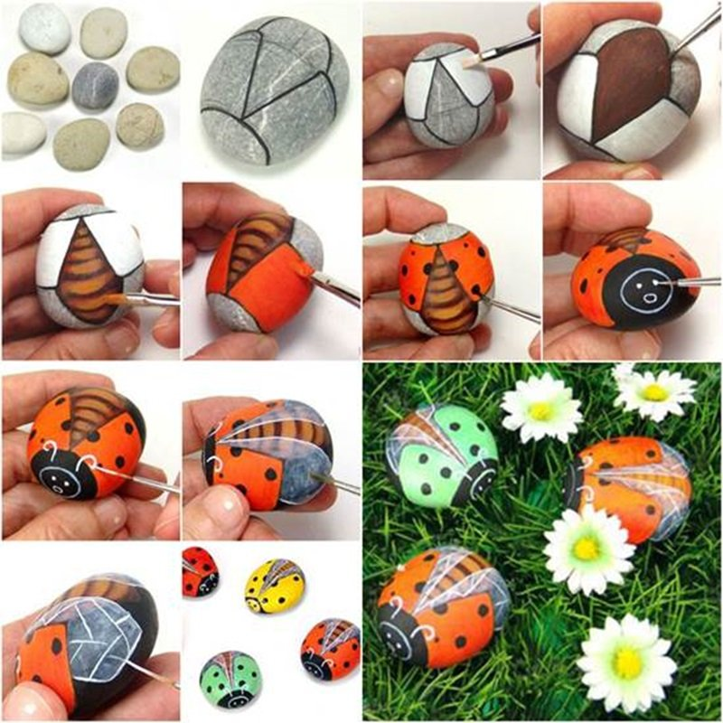 DIY painted pebble ladybug craft