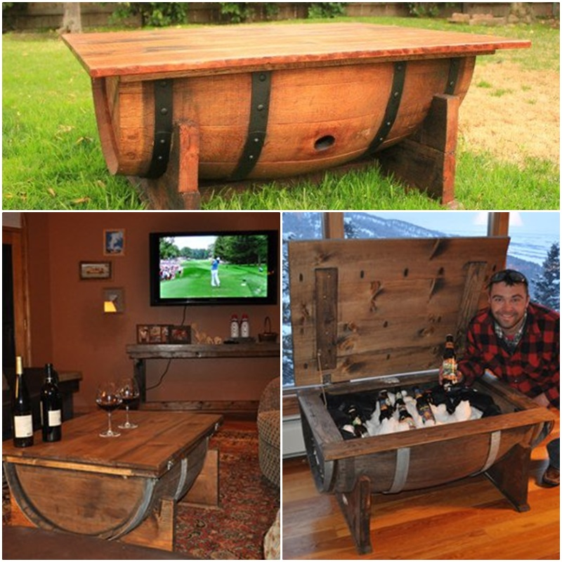 DIY wine barrel coffee table Cool Creativities
