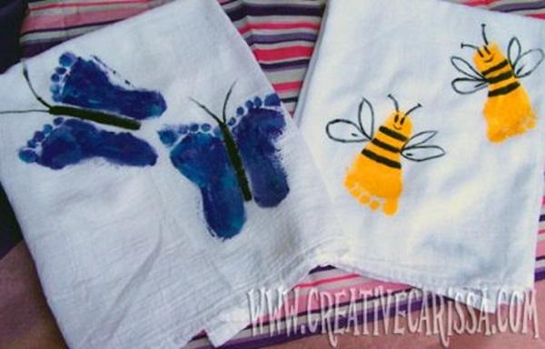 diy Creative-Footprint-Butterfly-bee craft ideas