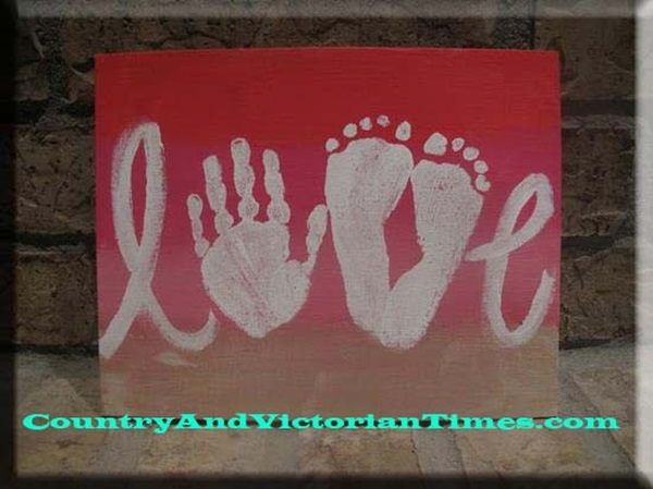 Love Sign Made with Footprints Idea. Mothers Day, Fathers Day, Gift Ideas