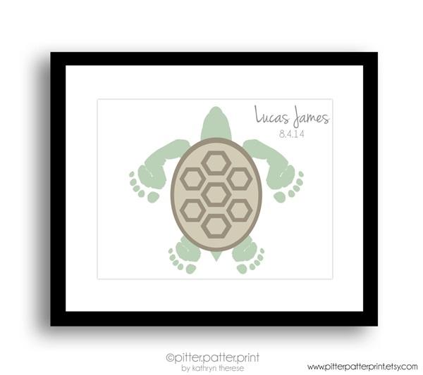 Sea Turtle Baby Footprint Nursery Wall Art