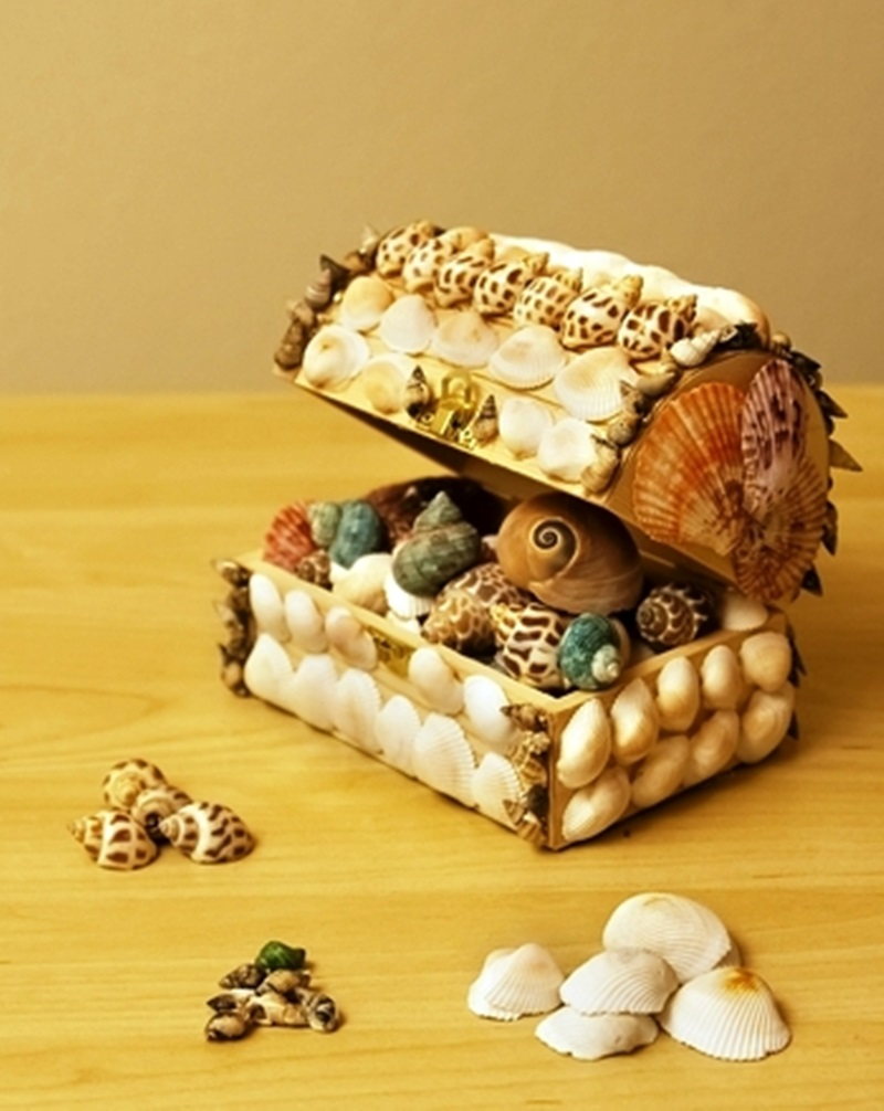 Adorable Seashell Craft Ideas treasure-box