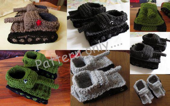 Crochet Panzer Tank Slippers 1