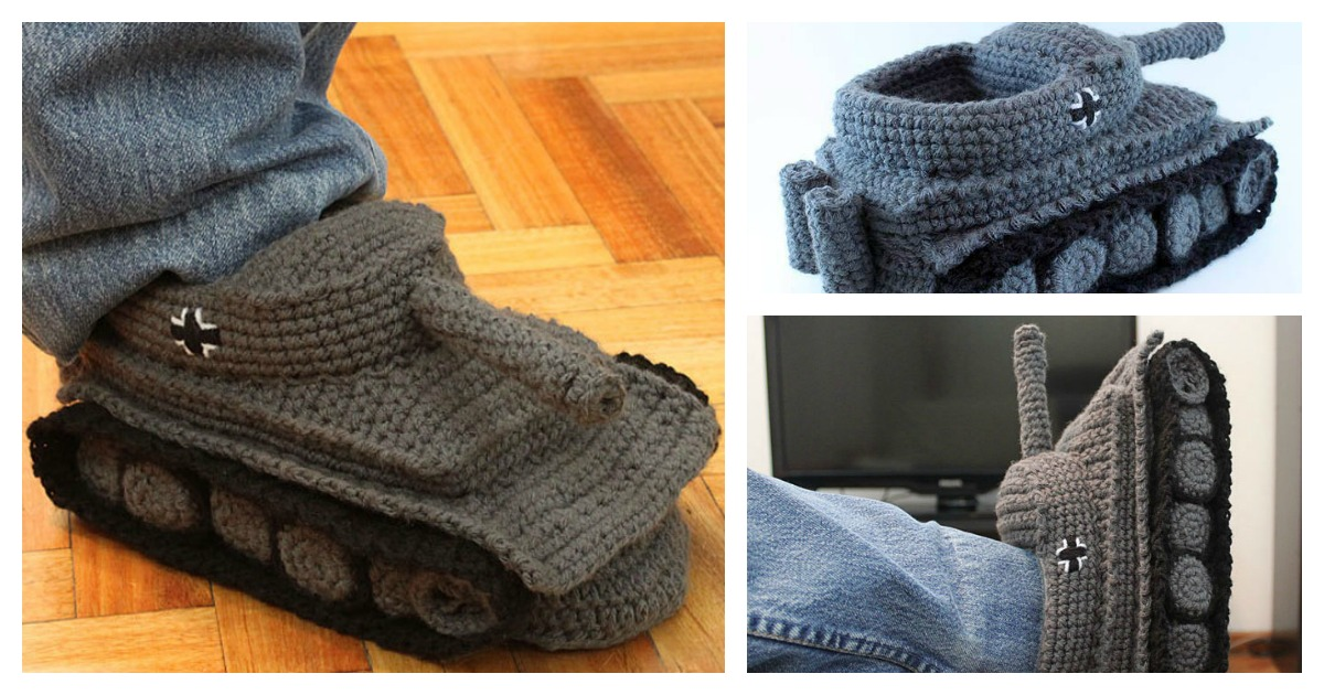 Crochet Super Cool Panzer Tank Slippers