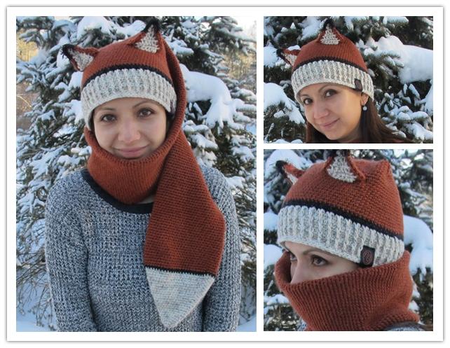 Crochet Pattern Hat Scarf Combo : DIY Crochet Fox Hat And Scarf Combo with Free Pattern
