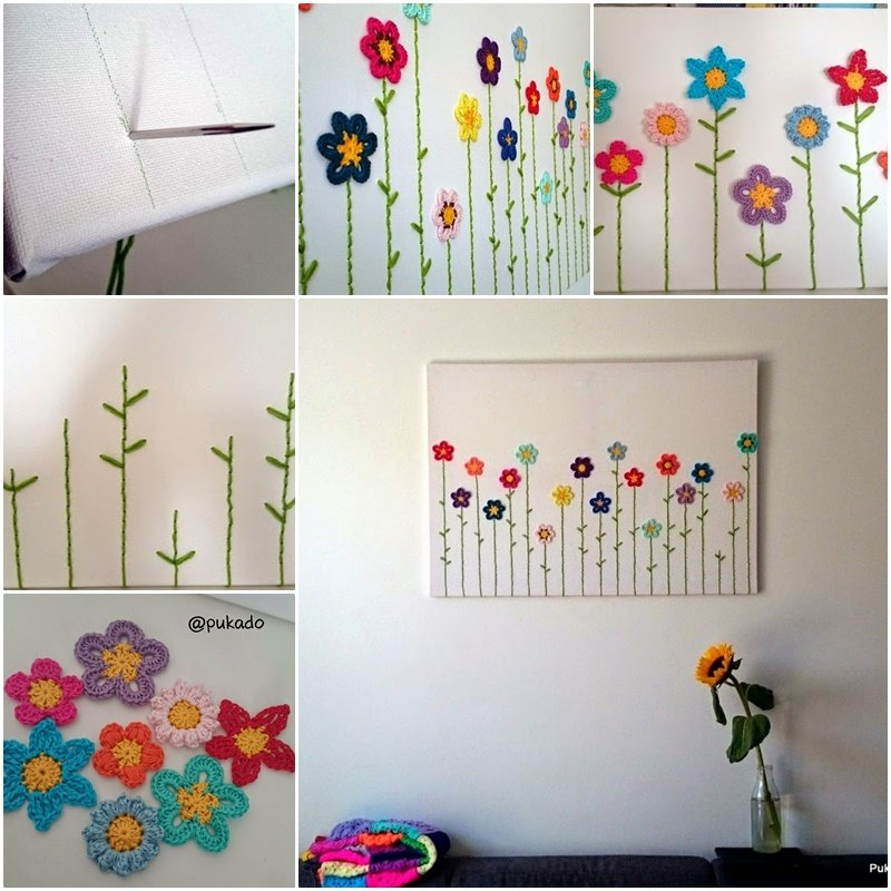 DIY Lovely Crochet Flowers Canvas with Free Pattern-1