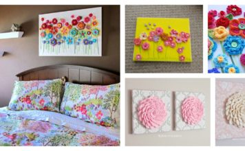 DIY Lovely Crochet Flowers on Canvas with Pattern