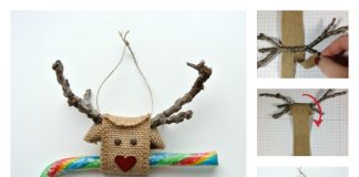 DIY Reindeer made from Burlap Ribbon