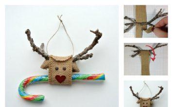 DIY Reindeer made from Burlap Ribbon