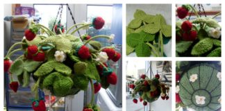 Knitting Hanging Strawberry Basket with Free Pattern