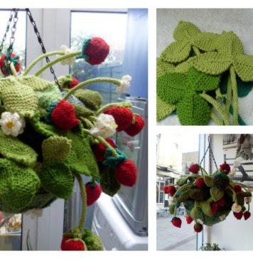 Knitting Hanging Strawberry Basket with Free Pattern
