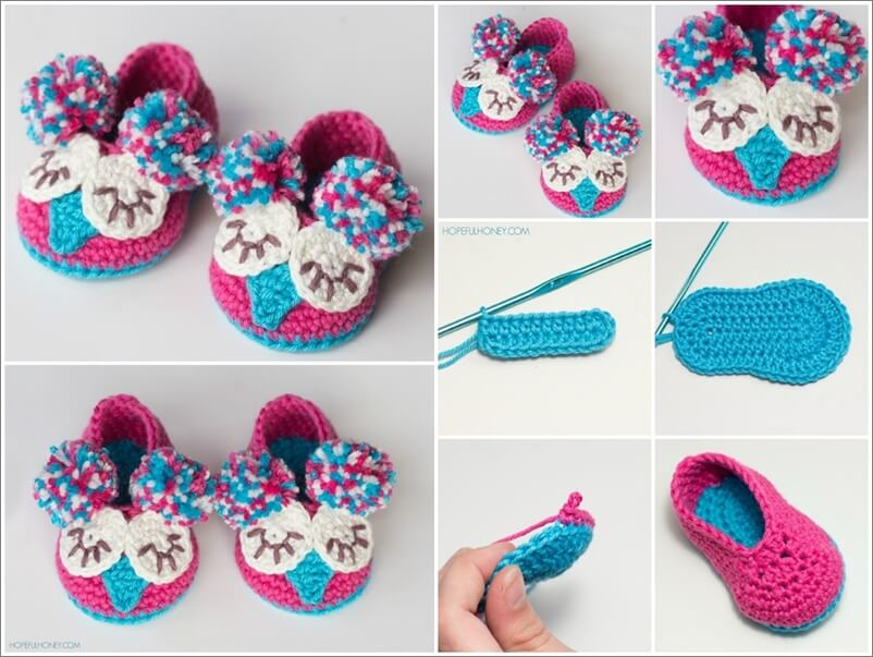 Crochet Cute Baby Owl Booties With Free Pattern