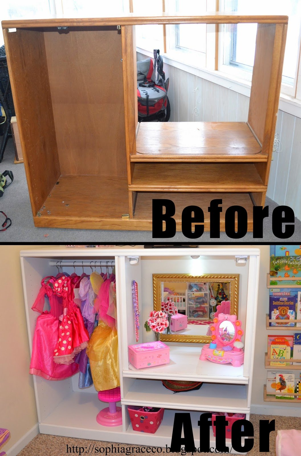 DIY Girl Dress-Up Nook from Old Hutch