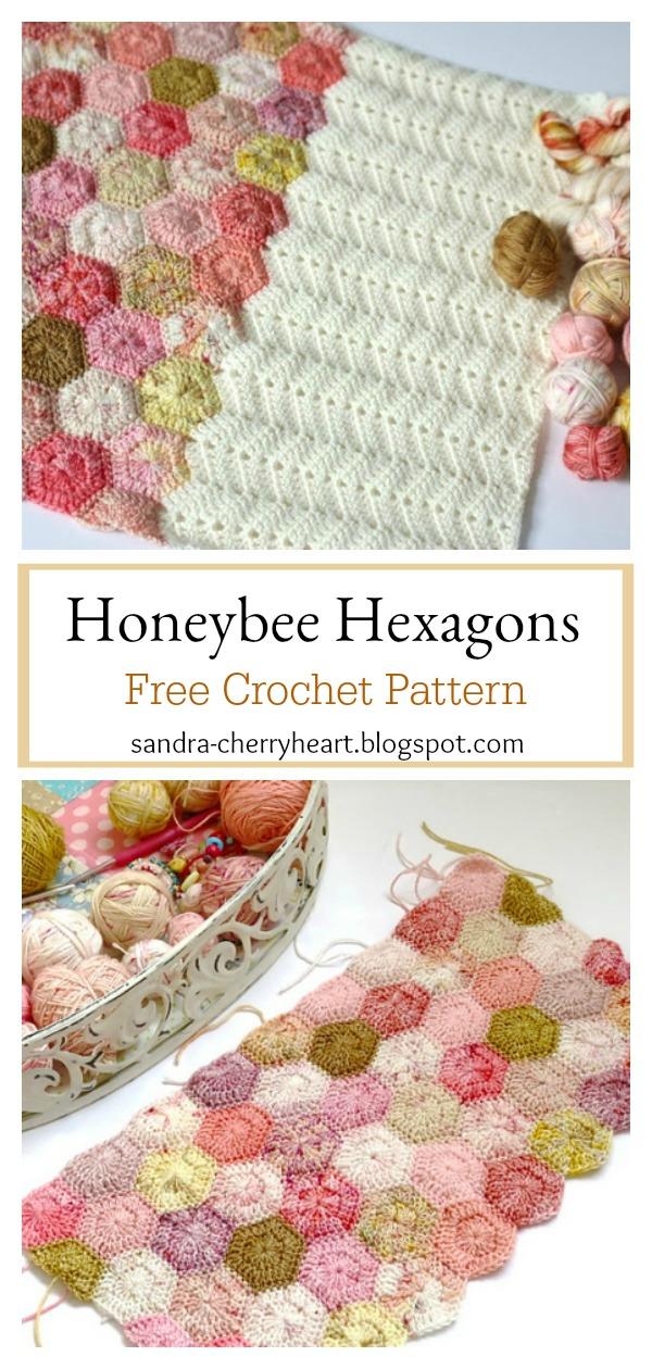 Easy Honeybee Hexagons Blanket Free Crochet Pattern