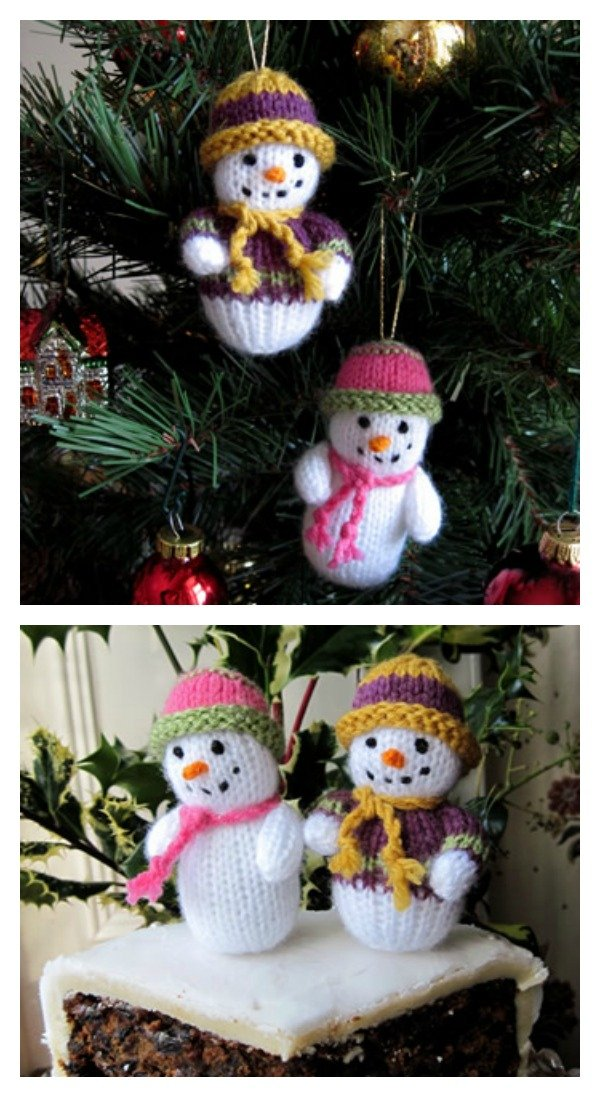 Knitted Teeny Tiny Snowman With Pattern