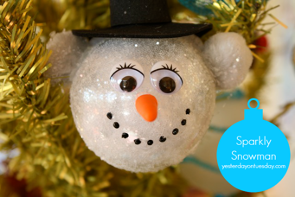 Simple and Cute Snowman DIY-SPARKLY SNOWMAN ORNAMENT