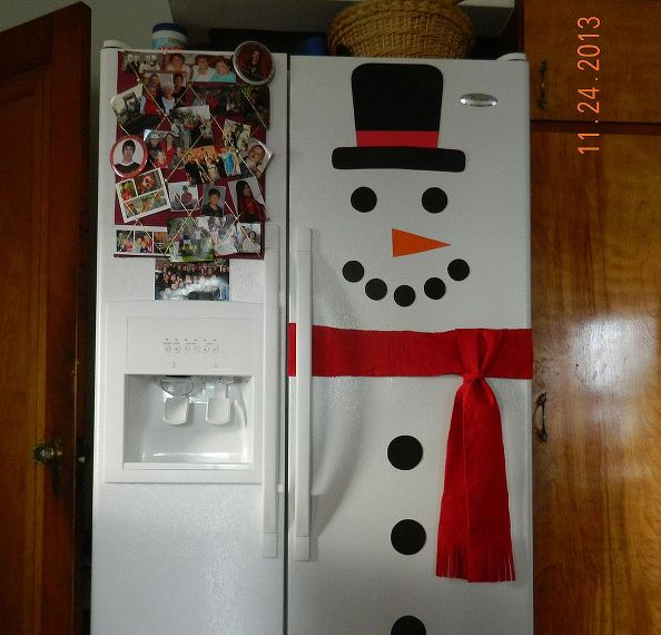 Simple and Cute Snowman DIY-Snowman Refrigerator