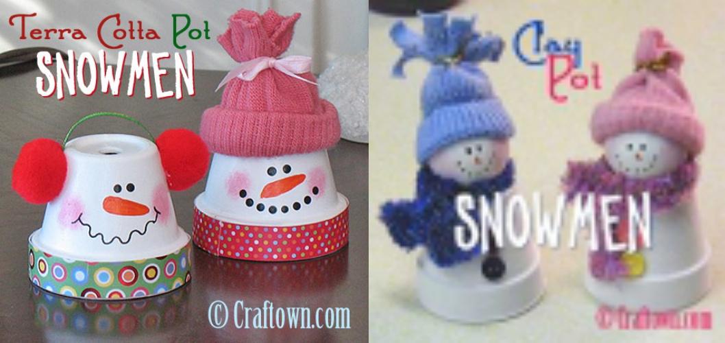Simple and Cute Snowman DIY-clay Pot Snowmen