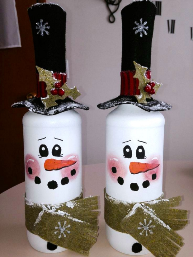 Simple and Cute Snowman DIY-wine bottle