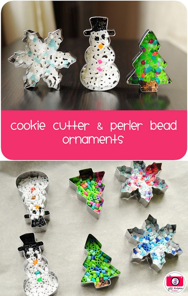 Things You Never Thought to Do With Christmas Cookie Cutters-peppermint-barkelted hama bead and cookie cutter Christmas decorations
