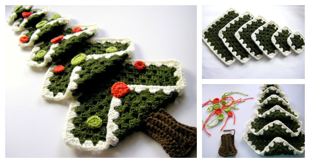 Free Crochet Patterns For Xmas Trees : Vintage Granny Square Christmas Tree FREE Crochet Pattern