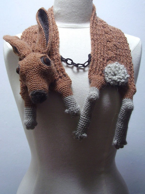 20 Cool Creativity And Funny Winter Scarf Designs -Crocheted Hare Stole