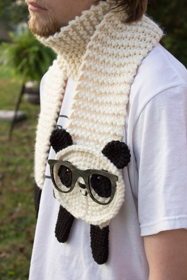 20 Cool Creativity And Funny Winter Scarf Designs hipster-panda-scarf