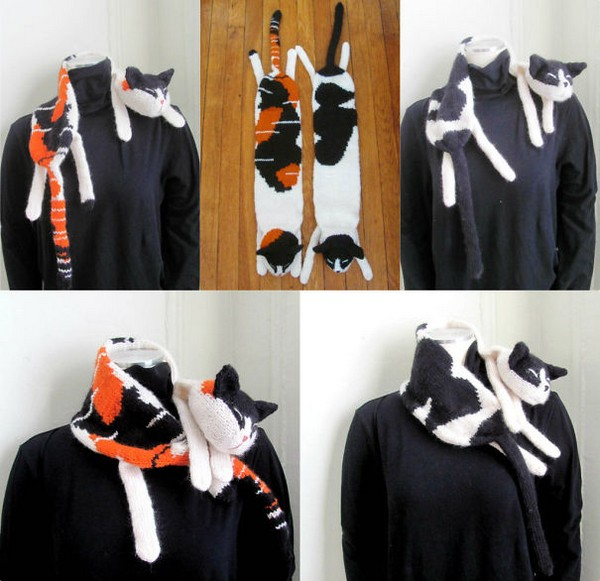 20 Cool Creativity And Funny Winter Scarf Designs - Telon & Mio the Cat Scarves