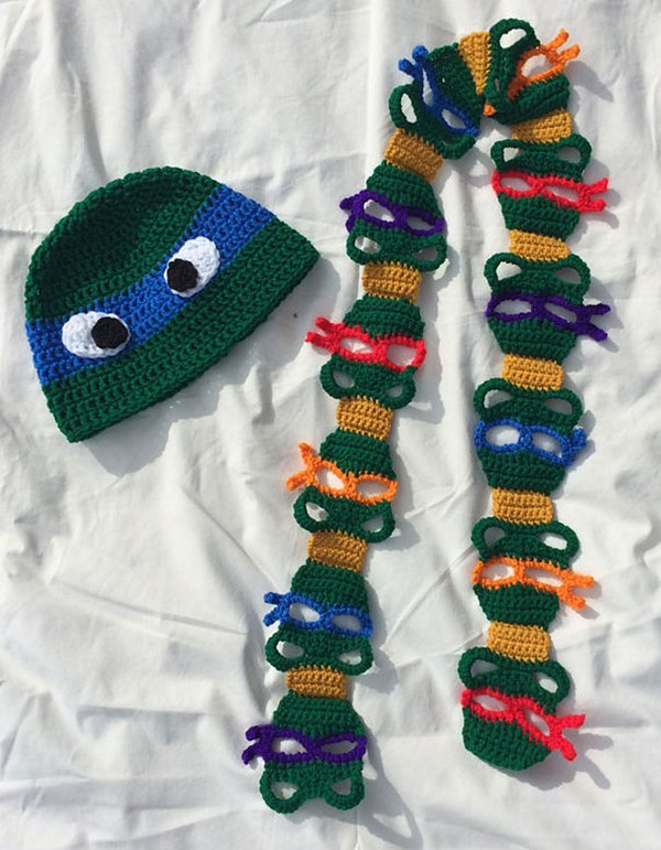 20 Cool Creativity And Funny Winter Scarf Designs- ninja-turtles-scarf