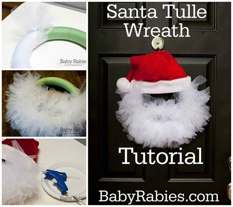 DIY santa tulle wreath