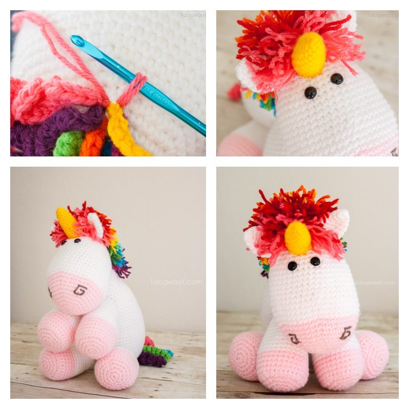 Crochet Rainbow Unicorn with Free Pattern
